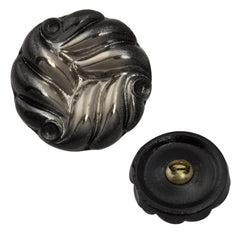 18mm Glass Button Silver on Jet Wave Design