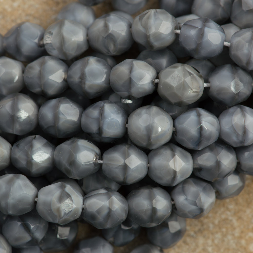 50 Czech Fire Polished 8mm Round Bead Crystal Gray (46028)