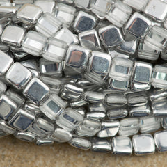 50 CzechMates 6mm Two Hole Tile Beads Half Coat Silver (27001)