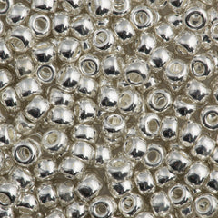 Miyuki Round Seed Bead 6/0 Bright Sterling Silver Plated 30g (961)
