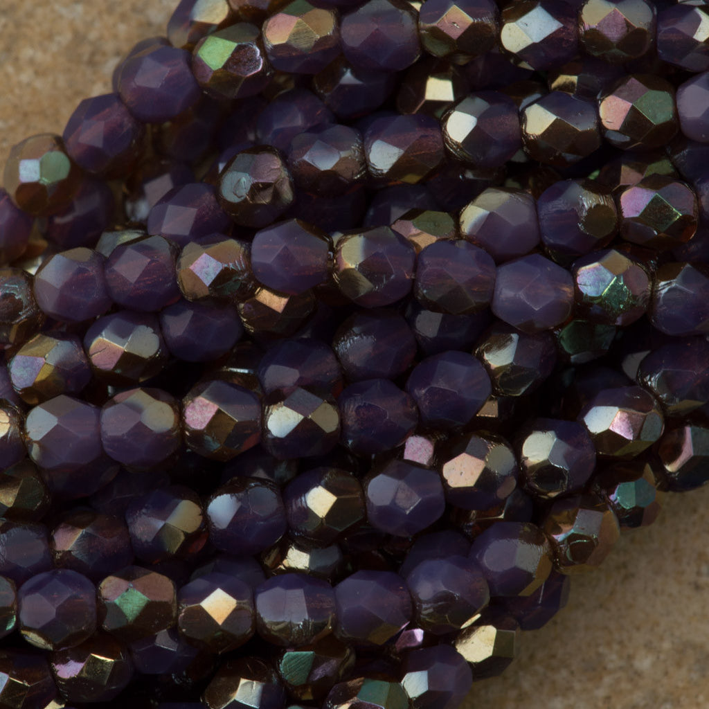 100 Czech Fire Polished 4mm Round Bead Milky Amethyst Celsian (21010Z)