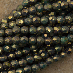 100 Czech Fire Polished 4mm Round Bead Metallic Green Turquoise Picasso (53130BT)