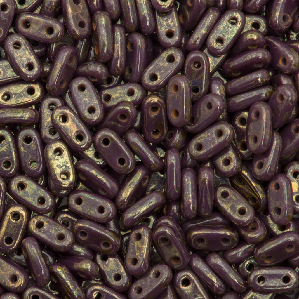 CzechMates 2x6mm Two Hole Bar Opaque Purple Bronze Picasso Beads 15g (23030BT)