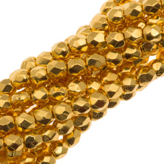 100 Czech Fire Polished 3mm Round Bead 24kt Gold Plated (00030GP)
