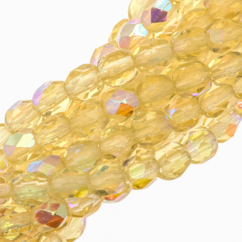 100 Czech Fire Polished 3mm Round Bead Light Topaz AB (10020X)