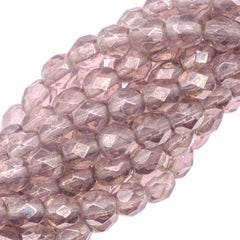 100 Czech Fire Polished 4mm Round Bead Amethyst Luster (20040L)