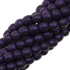 200 Czech 3mm Pressed Glass Round Beads Metallic Suede Purple (79021)