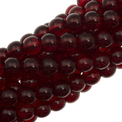 100 Czech 6mm Pressed Glass Round Beads Ruby (90100)