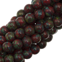 100 Czech 6mm Pressed Glass Round Opaque Red Picasso Beads (93200T)