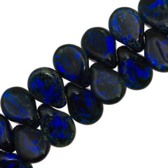 65 Preciosa Pip Opaque Cobalt Blue Travertin Beads (30090TV)