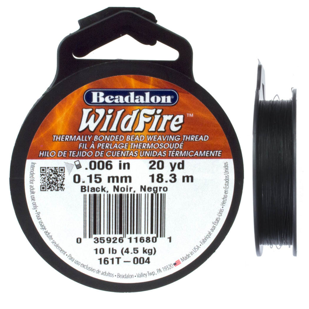 Beadalon WildFire Black Beading Thread 20 yard Spool