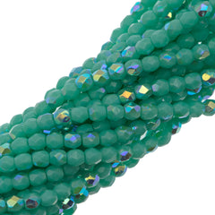 100 Czech Fire Polished 3mm Round Bead Turquoise AB (63120X)