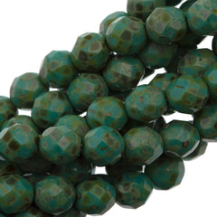 50 Czech Fire Polished 8mm Round Bead Opaque Turquoise Picasso (63130T)