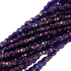 100 Czech Fire Polished 3mm Round Bead Cobalt Vega (30090E)