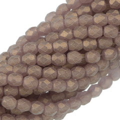 100 Czech Fire Polished 4mm Round Bead Gold Suede Mid Amethyst (20040MSG)