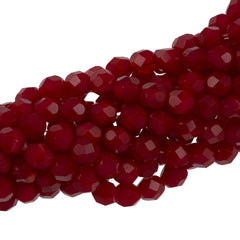 50 Czech Fire Polished 6mm Round Bead Milky Oxblood (91260)