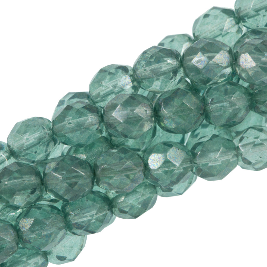 50 Czech Fire Polished 8mm Round Bead Prairie Green Luster (14457)