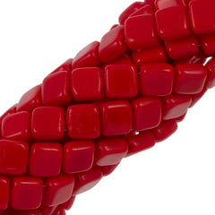 50 CzechMates 6mm Two Hole Tile Beads Opaque Red (93200)