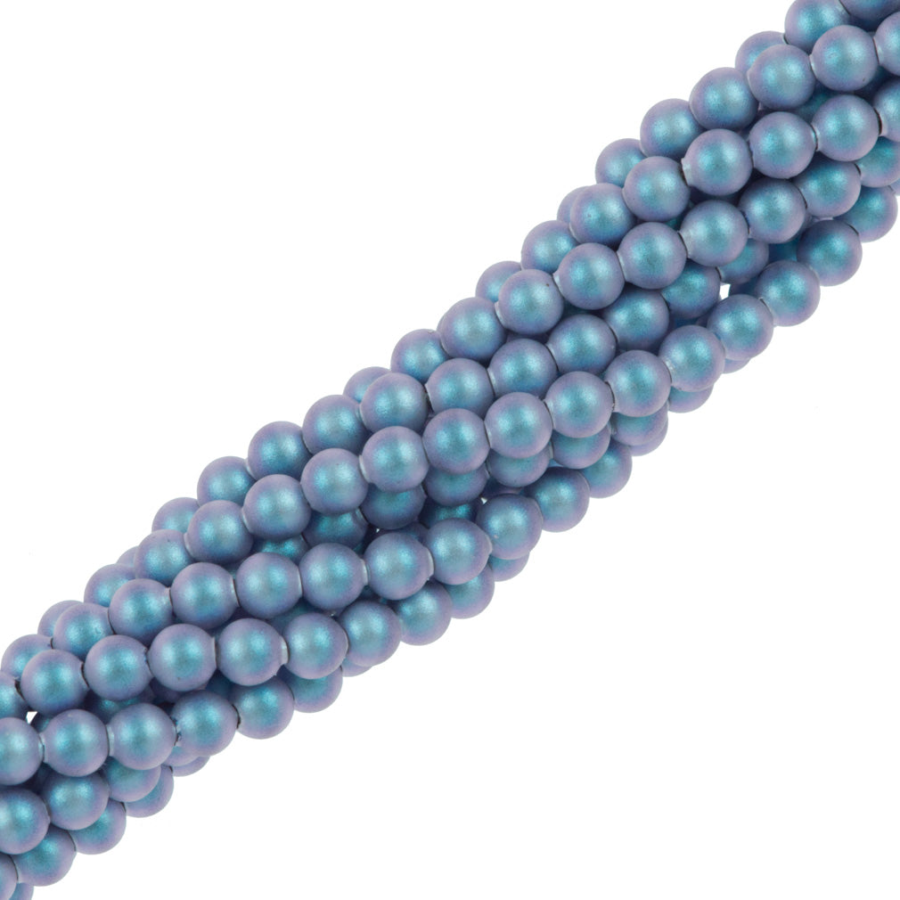 200 Swarovski 5810 3mm Round Iridescent Light Blue Pearl Beads