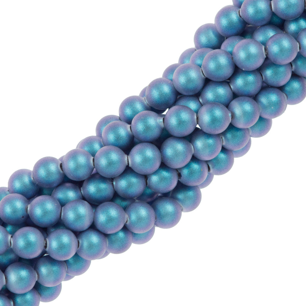 100 Swarovski 5810 4mm Round Iridescent Light Blue Pearl Beads