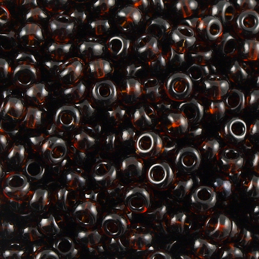 Czech Seed Bead Transparent Dark Topaz 30g 6/0 6-10140