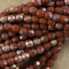 100 Czech Fire Polished 3mm Round Bead Matte Apollo Umber (13610AM)