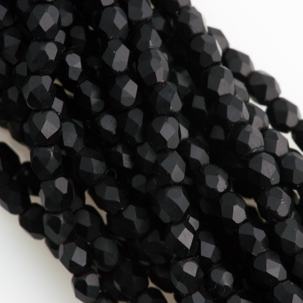 100 Czech Fire Polished 3mm Round Bead Matte Jet (23980M)
