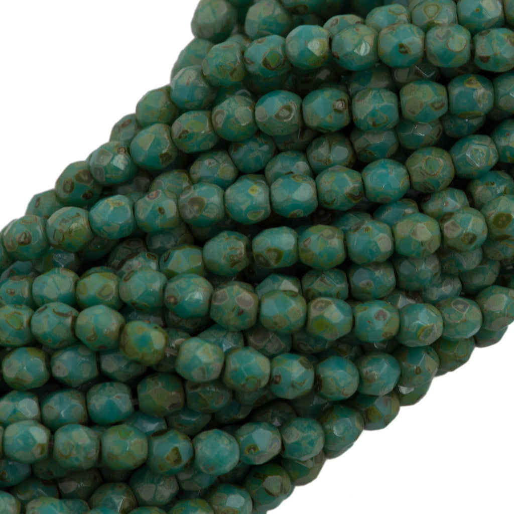 100 Czech Fire Polished 3mm Round Bead Opaque Turquoise Picasso (63130T)