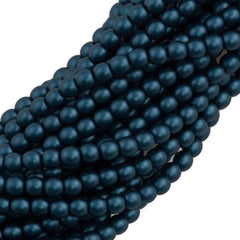 100 Czech 4mm Round Steal Blue Glass Pearl Beads
