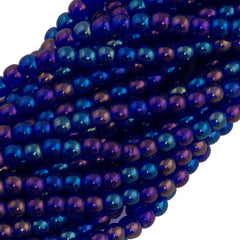 200 Czech 4mm Pressed Glass Round Beads Cobalt Luster Iris (30090LR)
