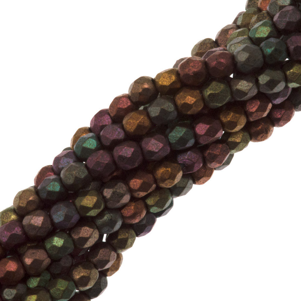 100 Czech Fire Polished 2mm Round Bead Matte Metallic Bronze Iris (01640K)