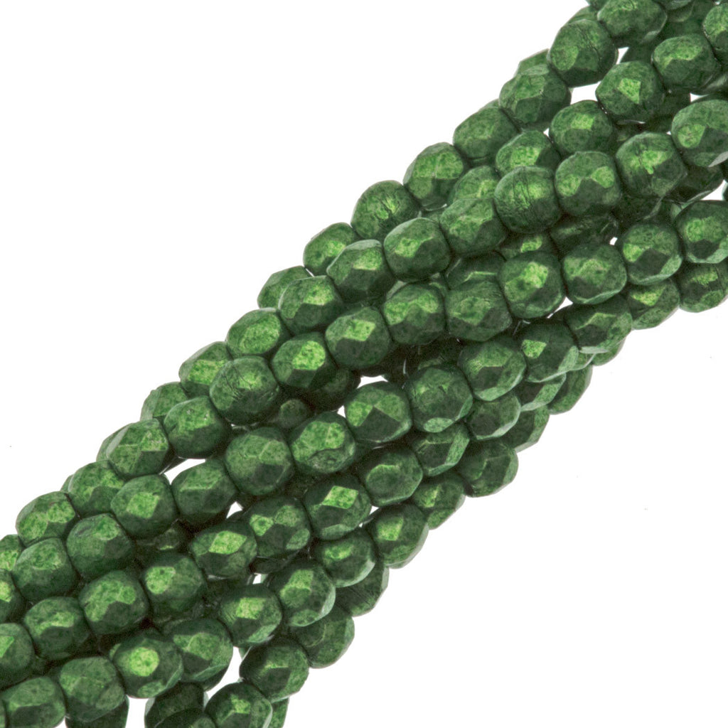 100 Czech Fire Polished 2mm Round Bead Saturated Metallic Kale (77059)