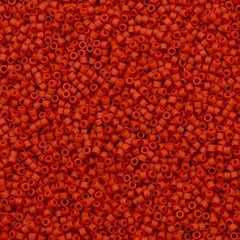 Miyuki Delica Seed Bead 11/0 Matte Opaque Dyed Red Orange 7g Tube DB795