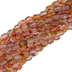 100 Czech Fire Polished 3mm Round Beads Transparent Pink Luster (14295)