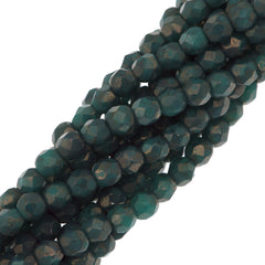 100 Czech Fire Polished 3mm Round Bead Moon Dust Turquoise (63130MD)