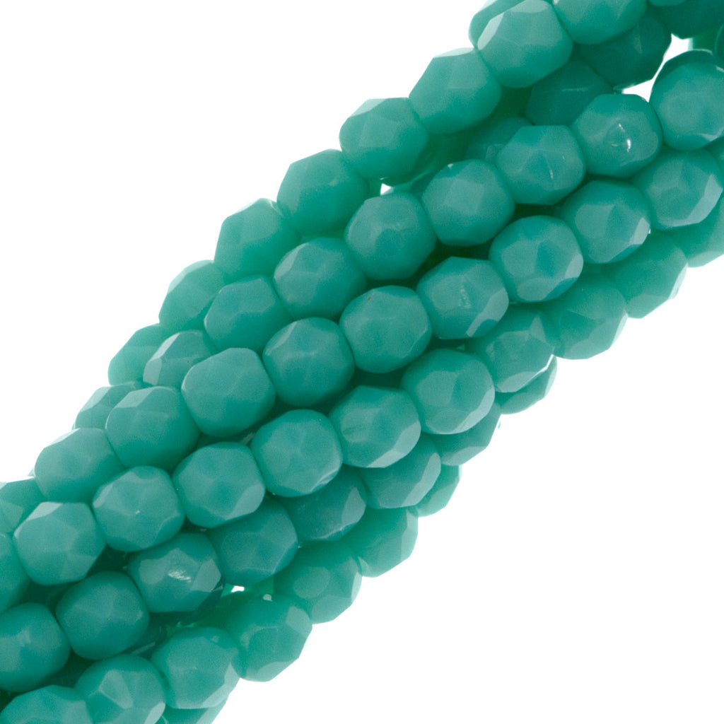 100 Czech Fire Polished 3mm Round Bead Opaque Turquoise (63130)