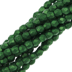 100 Czech Fire Polished 3mm Round Bead Saturated Metallic Kale (77059)