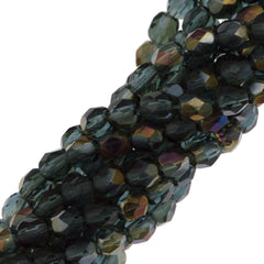 100 Czech Fire Polished 4mm Round Bead Montana Blue Twilight (30330W)
