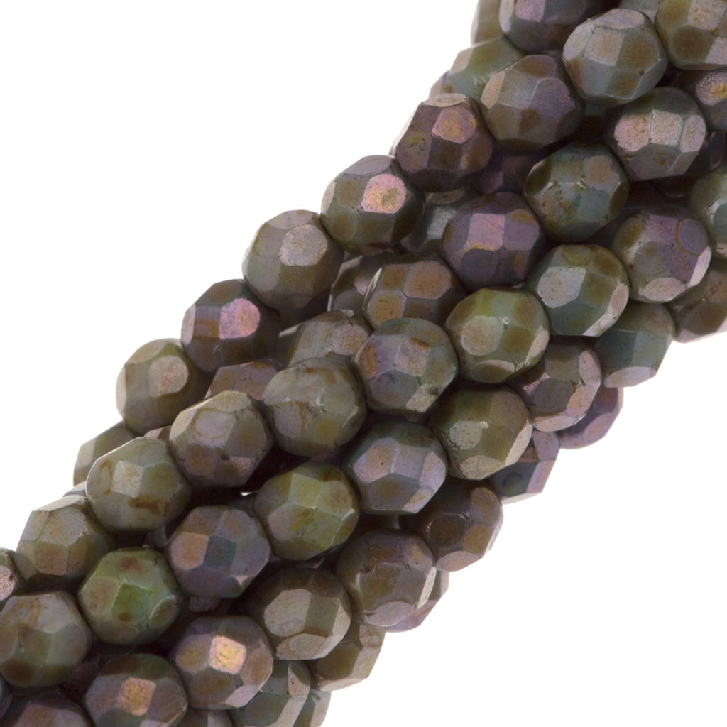 100 Czech Fire Polished 4mm Round Bead Opaque Green Luster (65431P)