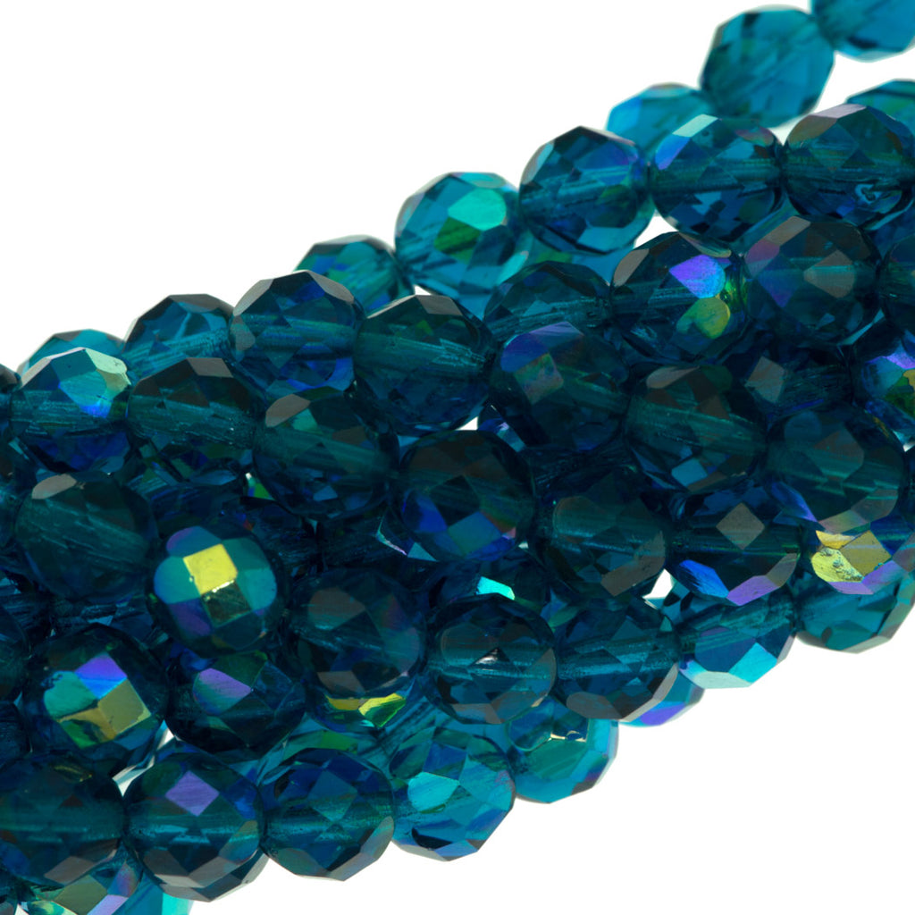 50 Czech Fire Polished 8mm Round Bead Teal AB (60150X)
