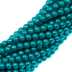 100 Czech 4mm Round Aqua Glass Pearl Coat Beads