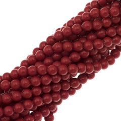 200 Swarovski 5810 3mm Round Red Coral Pearl Beads