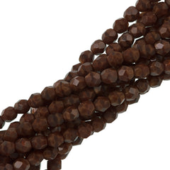 50 Czech Fire Polished 6mm Round Bead Chestnut Coral (17612)