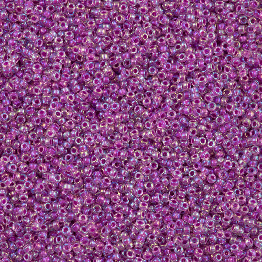 Miyuki Round Seed Bead 11/0 Inside Color Lined Raspberry AB 22g Tube (264)
