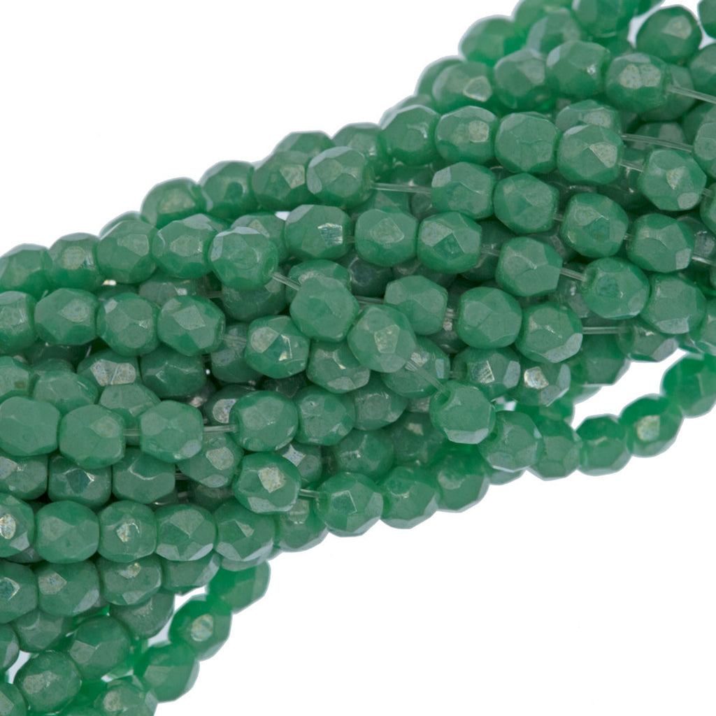 100 Czech Fire Polished 3mm Round Bead Light Green Turquoise Luster (53130L)