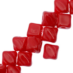 40 Czech Glass 5mm Two Hole Silky Beads Opaque Red (93190)