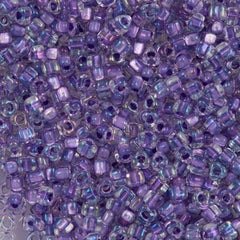 Miyuki Triangle Seed Bead 5/0 Inside Color Lined Lilac AB 21g Tube (1138)