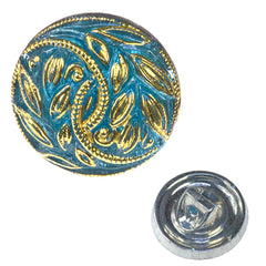 Czech 13mm Gold Leaves Glass Button Blue Aqua