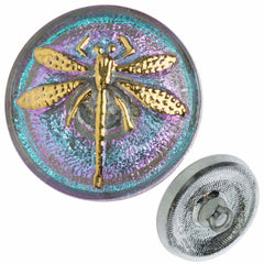 Czech 18mm Blue and Lavender Dragonfly Glass Button