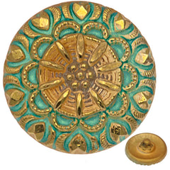 Czech 18mm Crown Gold Turquoise Glass Button